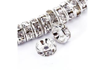 (4 mm, Silver Plated/#001 Clear Crystal) - BRCbeads 4mm Silver Plated Crystal Rondelle Spacer Beads 100pcs per Bag for jewelery Making(#001 Clear Crystal)