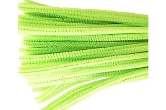 (Light Green) - Caryko Super Fuzzy Chenille Stems Pipe Cleaners, Pack of 100 (Light Green)