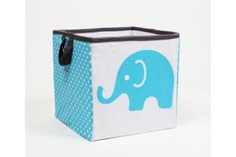 (Small 11 x 28cm  x 28cm , Elephants Aqua/Lime/Grey) - Bacati - Storage Tote (Small 11 x 28cm x 28cm , Elephants Aqua/Lime/Grey)