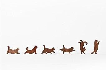 COMMA Wooden Cat Pile Set #4 (Orange Thread, 6 Kittens)