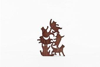 COMMA Wooden Cat Pile Set #3 (Green Thread, 6 Kittens)