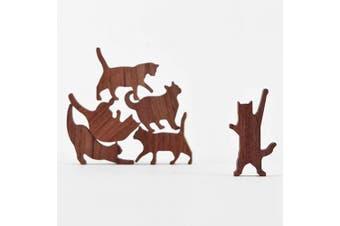 COMMA Wooden Cat Pile Set #1 (Pink Thread, 6 Kittens)