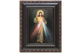 Cottage Garden Divine Mercy Distressed Black Tiny Frame With Magnet and Easel