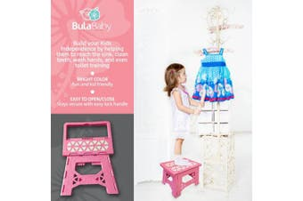 (Pink) - Bula Baby Folding Step Stool For Kids - New Safe Locking System and Non Slip Feet Grip - Pink