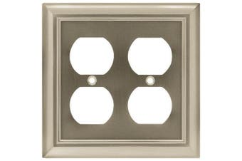 (Single, Double Duplex Outlet Wall Plate / Switch Plate / Cover, Matte Black) - Brainerd 64210 Architectural Double Duplex Wall Plate / Switch Plate / Cover, Flat Black