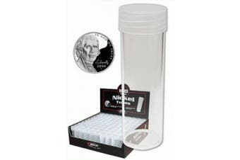 BCW Coin Storage Tubes, Round Clear Plastic W/ Screw On Tops For Nickels (Quantity Of 10 Tubes)