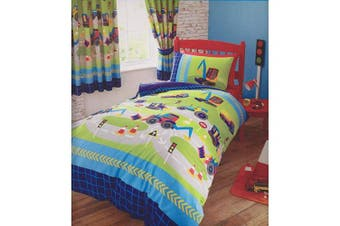 (Blue, Single) - Diggers Kids Quilt Duvet Cover and Pillowcase Bed Set, Polycotton, Multi, Single