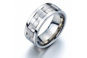 (O) - Refined Style Stainless Steel Spinner Unisex Ring Man Ring Comfort Fit 9mm Size 7.5 to 13.5