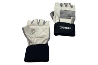 (Large, White) - Softee Weight Lifting Gloves