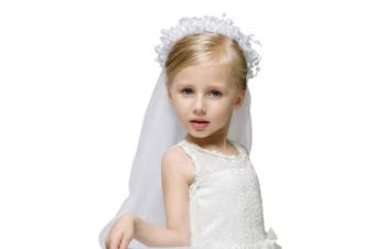 (White) - Girls Fashion Floral Headpiece Veil Rhinestone Accented Flower Crown