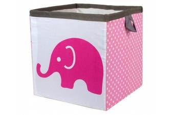 (Small 11 x 28cm  x 28cm , Elephants Pink/Grey) - Bacati - Storage Tote (Small 11 x 28cm x 28cm , Elephants Pink/Grey)