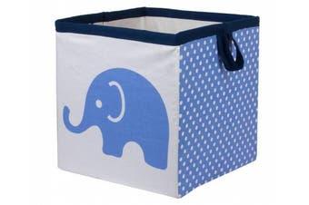 (Small 11 x 28cm  x 28cm , Elephants Blue/Grey) - Bacati - Storage Tote (Small 11 x 28cm x 28cm , Elephants Blue/Grey)