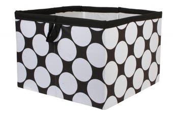 (Large Dots White/Black) - Bacati - Storage Tote (Large 14 x 36cm x 25cm , Large Dots White/Black)