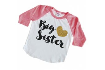 (4T, Pink Sleeves) - Baby Girl Clothes, Big Sister Shirt, Pregnancy Announcement Photo Prop (4T, Pink Sleeves)