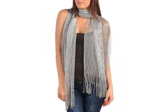 Silver Metallic Evening Shawl Wrap with Fringe