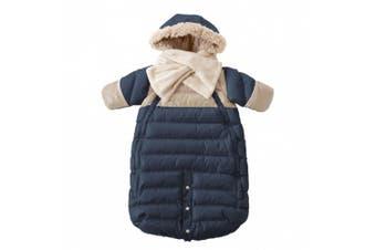 (Large, Midnight Blue/Beige) - 7AM Enfant Doudoune One Piece Infant Snowsuit Bunting, Midnight Blue/Beige, Large