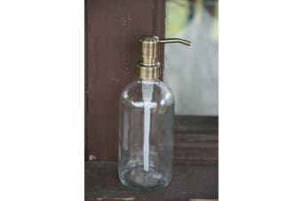 (Brass) - Clear Glass Soap Dispenser with Brass Metal Pump - Clear 470ml Glass Jar Lotion Bottle by Industrial Rewind (Brass)
