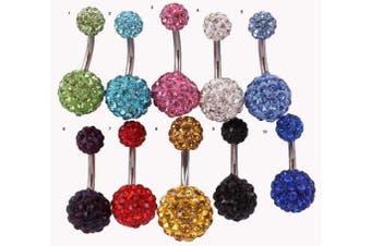 (4. Crystal) - 5starwarehouse® Shamballa 12mm Belly Navel Bar Crystal Disco Ball DOUBLE Crystal Ball Ferido Gem (4. Crystal)