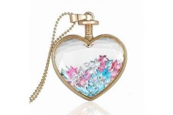 Romantic Heart Colourful Stars Perfume Bottle Pendant Necklace N384
