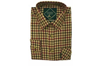 (XX-Large, Highclere-Red) - Country Classics Long Sleeve Checked Shirts Tattersall