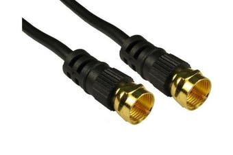 C4A® Short Black 0.5m F PLUG Satellite / TV Aerial 'F' Cable / Male to Male / Gold Plated / 50cm / Coaxial Cable