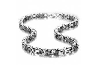 (53.0 Centimetres) - Impressive Mechanic Style Men's Necklace Stainless Steel Silver Chain, Width 8mm, Length 53cm