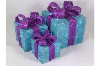 3 Piece Turquoise & Purple Glitter Christmas Parcel Set With White LED Lights- Christmas Decoration