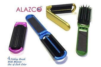 (4 Folding Brush) - 4 ALAZCO Folding Hair Brush With Mirror Compact Pocket Size Travel Car Gym Bag Purse Locker