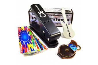 (Black/Black) - Pick-a-Palooza DIY Guitar Pick Punch with Leather Key Chain Pick Holder, 15 Pick Strips and a Guitar File - Black/Black