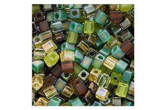 (10g) - Beadaholique Miyuki 10gm Glass Cube Bead Mix, 4mm, 'Earthtones'