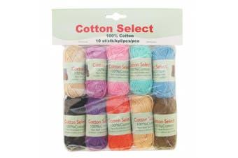 (10 Bon Bons, Assortment 99) - BambooMN Brand - Cotton Select Bonbon Yarns - Assortment 99 (Colour A) - 10x 10g Solid Colour Mini Ball - 1 Pack