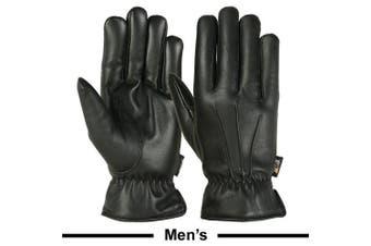 (Medium) - Mens Warm Winter Gloves Dress Gloves Thermal Lining Genuine Leather Black