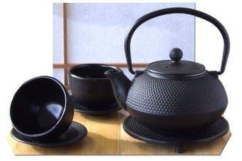 Vintage Gourmet ® Tetsubin Japanese Style Cast Iron Black Hobnail Teapot Set, Kettle 0.6L, Trivet, Cup & Saucer X 2