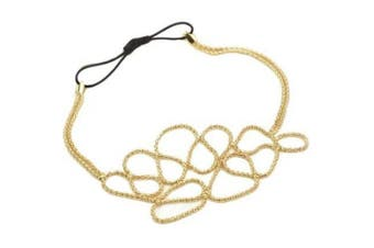 Boolavard TM Hollow Out Braided Gold Head Band Stretch Hair Accessories Gossip Girl