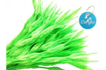 (Light Green) - Caryko Fuzzy Bump Chenille Stems Pipe Cleaners, Pack of 100 (Light Green)
