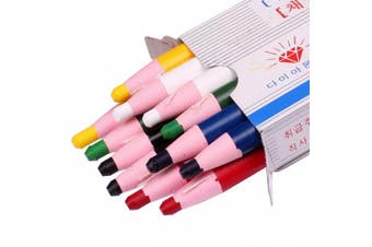 (Color Mix - 2×6 Color) - Diamond Peel-Off China Markers,Glass, Cellophane, Vinyl,Metal, Skin, Etc..Assorted - Pack of 12 (Colour Mix - 2×6 Colour)
