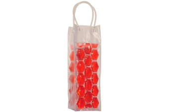 (Red) - Chill It - Wine Bag Beer Bottle Cooler & Ice Chiller Freezable Carrier (Red)