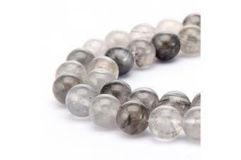 (8mm, Cloudy Quartz) - BRCbeads Gorgeous Natural Grey Cloudy Quartz Gemstone Round Loose Beads 8mm Approxi 15.5 inch 45pcs 1 Strand per Bag for Jewellery Making