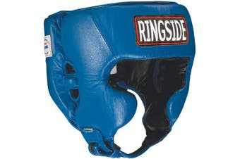(Small, Blue) - Ringside Competition Boxing Muay Thai MMA Sparring Head Protection Headgear with Cheeks