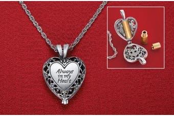 Brass Urn Enclosed In Heart Locket Necklace