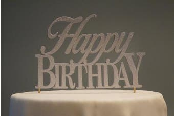(Silver) - All About Details Silver Happy-birthday Cake Topper