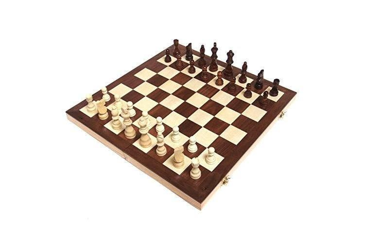 Chess Armoury 38cm Wooden Chess Set with Felted Game Board Interior for Storage