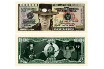 Stevie Ray Vaughan Million Dollar Bill Collectible in Currency Holder