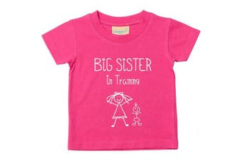 (3-4 Years) - Big Sister in Training Pink Tshirt Baby Toddler Kids Available in Sizes 0-6 Months to 14-15 Years New Baby Sister Gift