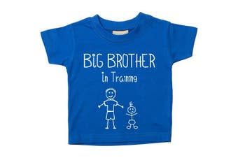 (3-4 Years) - Big Brother In Training Blue Tshirt Baby Toddler Kids Available in Sizes from 0-6 Months New Baby Brother Gift
