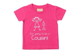 (3-4 Years) - I'm Going to be a Cousin Pink Tshirt Baby Toddler Kids Available in Sizes 0-6 Months to 5-6 Years New Baby Cousin Gift