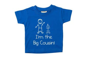 (5-6 Years) - I'm The Big Cousin Blue Tshirt Baby Toddler Kids Available in Sizes from 0-6 Months New Baby Cousin Gift