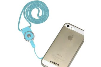 (Light Blue) - Amzer Detachable Cell Phone Neck Lanyard for Universal - Retail Packaging - Light Blue