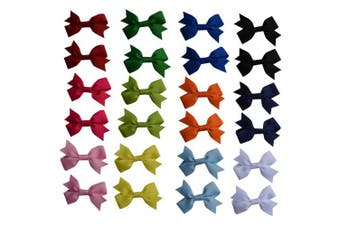 (Multicolors) - Bzybel 24pcs Baby Girls Boutique 5.1cm Grosgrain Ribbon Hair Bows Clips With Alligator Clips¡