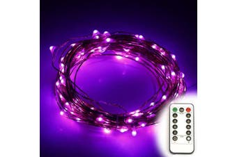 (10m(with remote), Purple) - ER CHEN(TM)8 Lighting Model Indoor and Outdoor Waterproof Battery Operated 100 LED String Lights on 10m Long Ultra Thin Copper String Wire with 13 Key Remote Control(Purple)